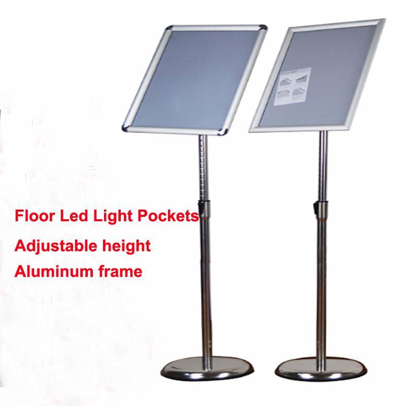 Stand de piédestal réglable A3 Affichage d'affichage lumineux avec cadre encliquetable, Lightbox publicitaire à LED