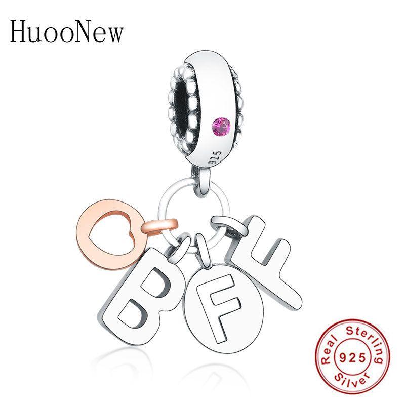 Fit Original Pandora Charm Bractele 925 Стерлинговое серебро Розовое Золото Любовь Сердце Лучший друг Навсегда Бусин Подвеска Berloque Q0225