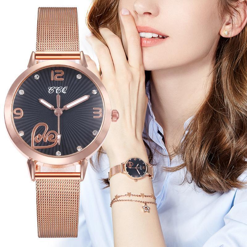 Saatı Bilezik İzle Kadınlar Saatler Gül Altın Kalp Baskı Rhinestone Kuvars Bayanlar Saat Relogio Feminino Reloj # W