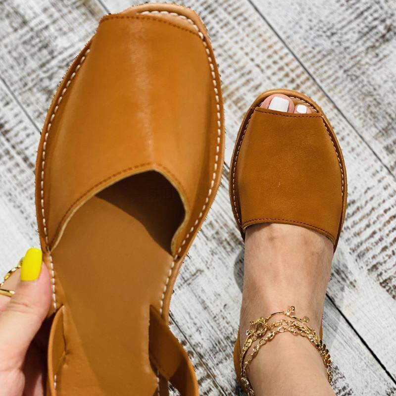 Kamucc Sandales d'été Femmes Femmes Casual Peep Toe Chaussures Pu Slip sur loisir Solide Couture Chaussures Two-Pièce Plus Taille