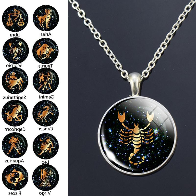 Pendant necklace, 12 constellations, 25 mm diameter, crystal pendant, round metal earrings, jewelry, birthday gift