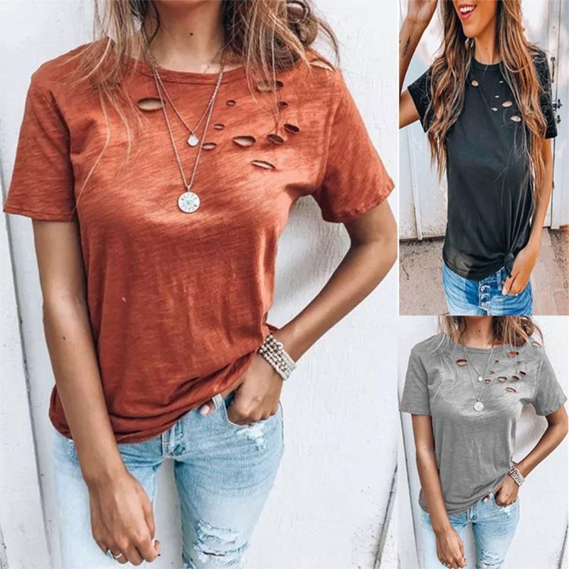 Женщины Девушки Летние Разорвал с коротким рукавом Футболка женские Сплошные Цветные Рубашки Круглый Декольте Случайные Свободные Топы Пуловер S-3XL M7DD