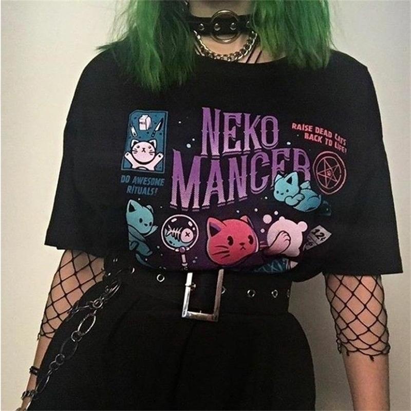 Neko Support Футболка унисекс милый эстетический гранж черный тройник сатантическая готическая одежда ведьма рубашка 210315