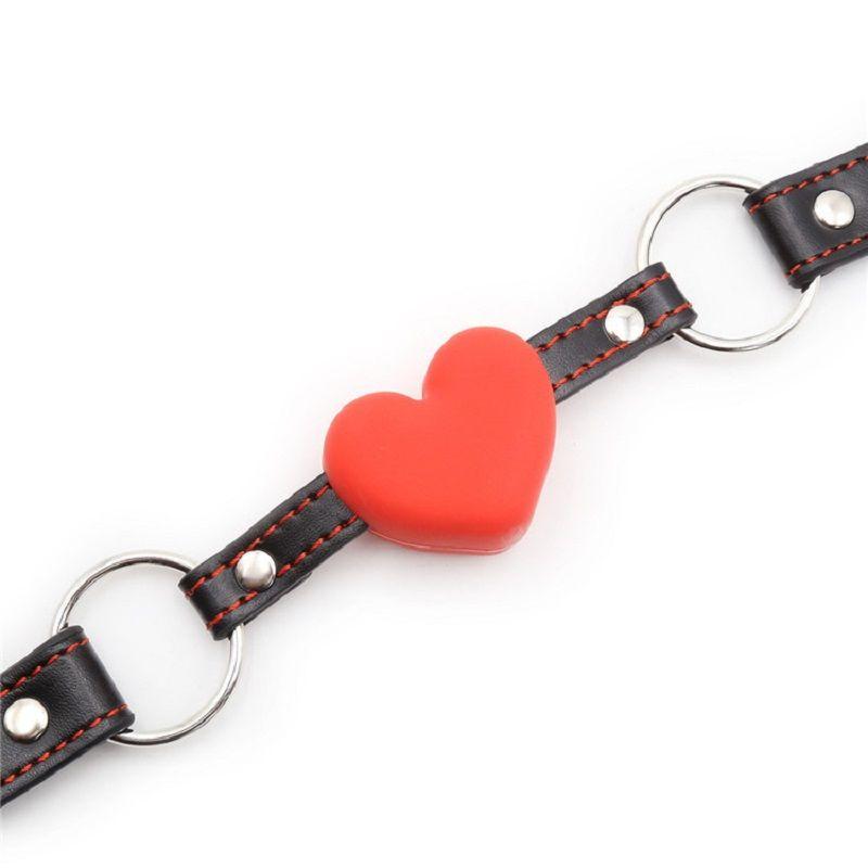 Coeur Gag Caystem Cuir Open Buand Harness Harness Balle Shape Couple jeu Flirter Oral Sex Produit pour femme homme O3