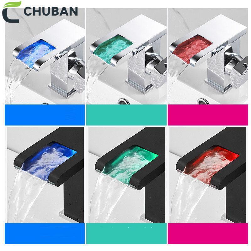 Chuban Température Control Tap Tap Yall Geakful Glows LED Noir Bassin Robinet Bain Vanity Dessin Tap Tap Tapeu à chaud Eau froide LED Poignée unique N95