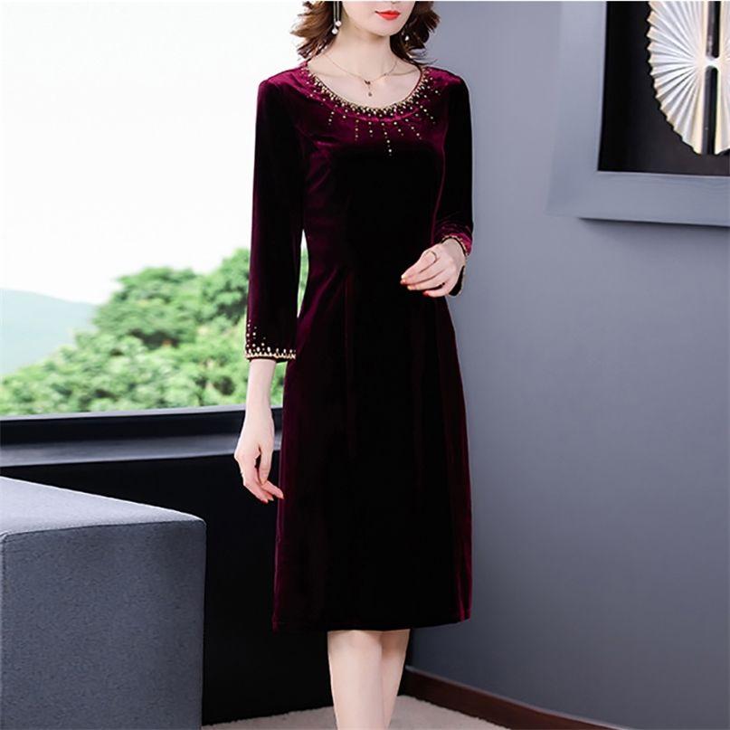 Frühling Burgund Gold Samt Vintage Midi Kleid Casual 4XL Plus Größe Langarm Frauen Elegante Bodycon Party Vestidos 210603