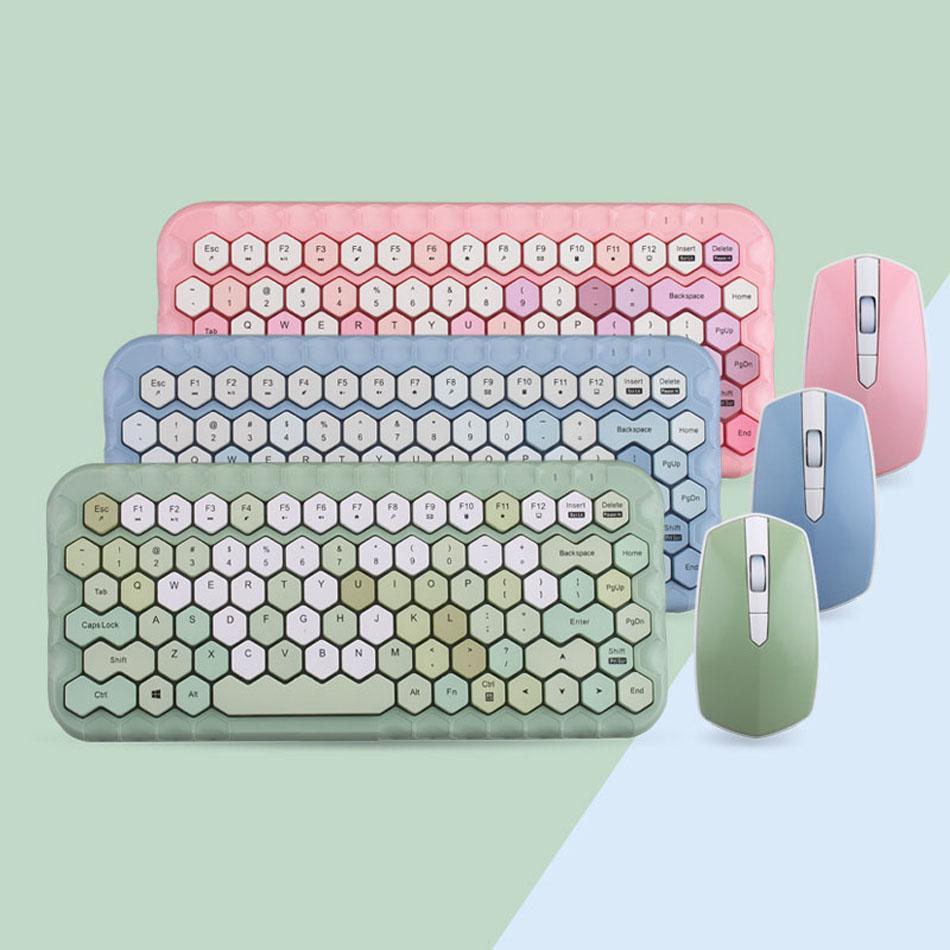 MOFII 2.4G Tastiera wireless tastiera Set di mouse Girl Cuore Combos Adatto per taccuini Desktop Tastiera da gioco universale