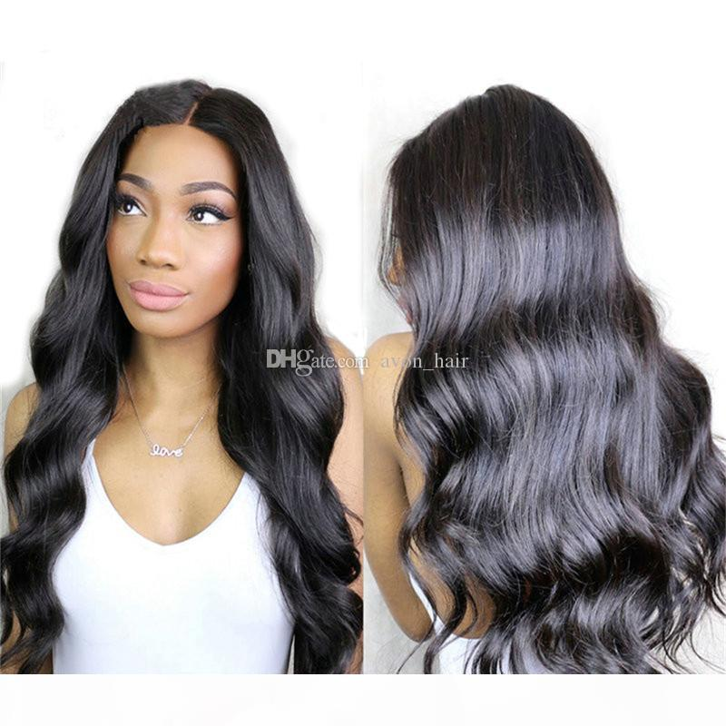 Seta Top Piena Parrucche del merletto Body Wave Glueless Base di seta 4 * 4 Parrucche anteriori in pizzo Capelli vergini con capelli per bambini per le donne nere