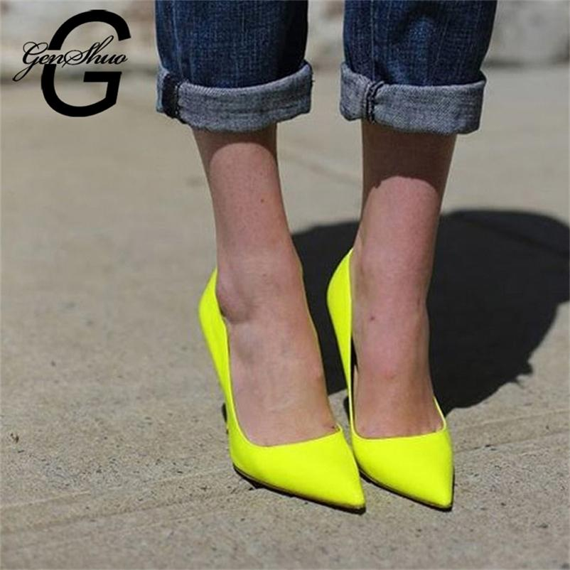 Genshuo Brand Shoes 10 12cm Talons Femmes Chaussures Pompes Stiletto Néon Jaune Party Sexy Talons High Talons Chaussures Grande taille 10 11 12 210310