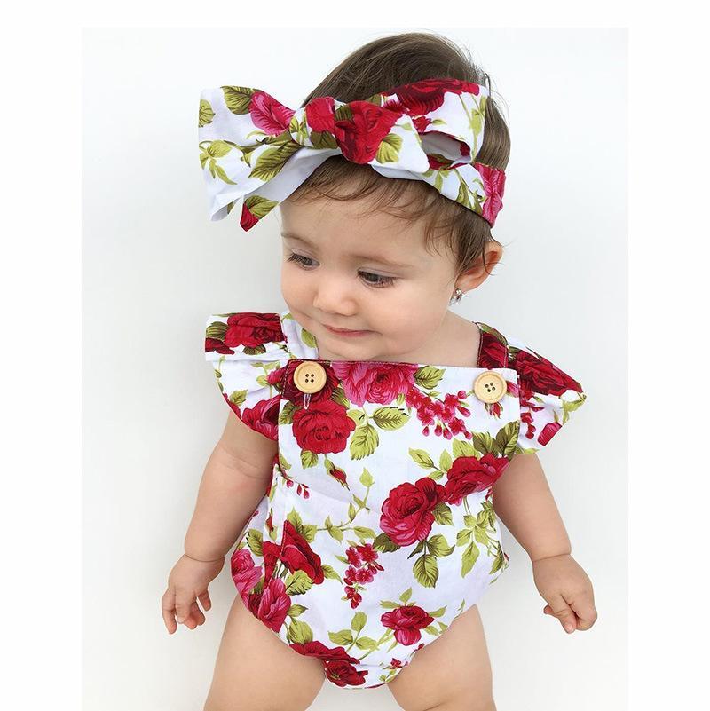 Rompers 2021 Прекрасный цветок малыш малыш девочек летний комбинезон комбинезон umper oneize outfits костюм детская одежда
