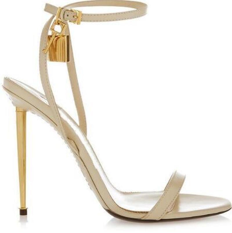 Sıcak Satış-Altın Gümüş Deri Yüksek Topuklu Gladyatör Sandalet Ayak Bileği Kayışı Asma Kilit Kadın Pompaları Açık Toe Metal Topuklu Kadın Ayakkabı