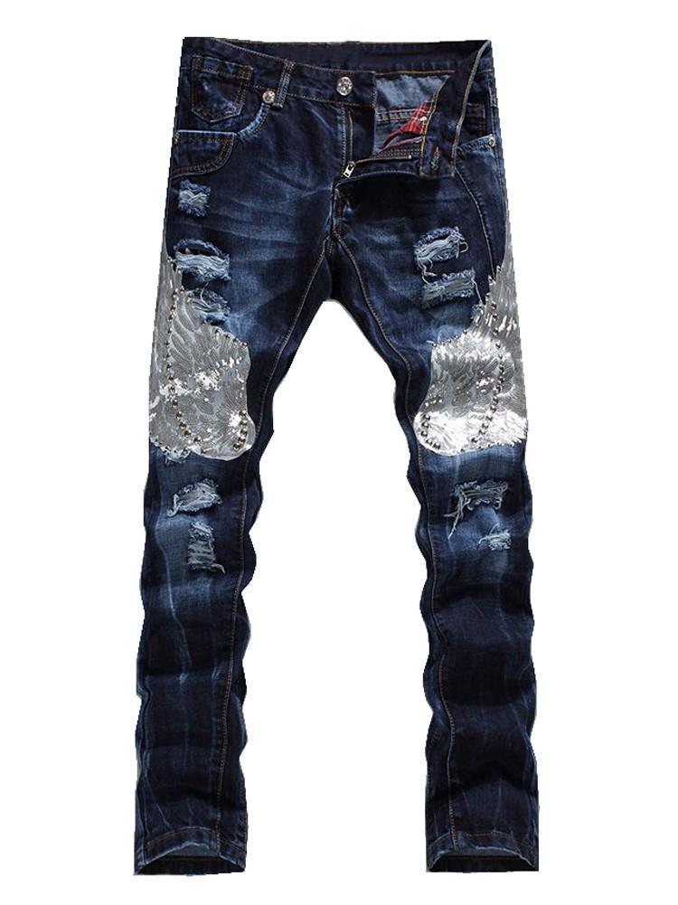 2021 Новые мужские моды орел крыло вышитые джинсовые брюки мужские повседневные отверстия разорванные джинсы тонкие прямые брюки SGV5