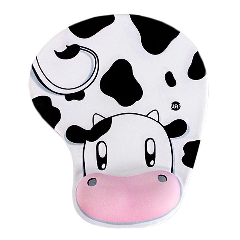 Pads de souris Poigne-poignets Silicone Pad de Silicone Cute Vache Animal Vache antidérapante Mousse Confort Confort Soutien 3D Confy Gaming Accessoires informatiques