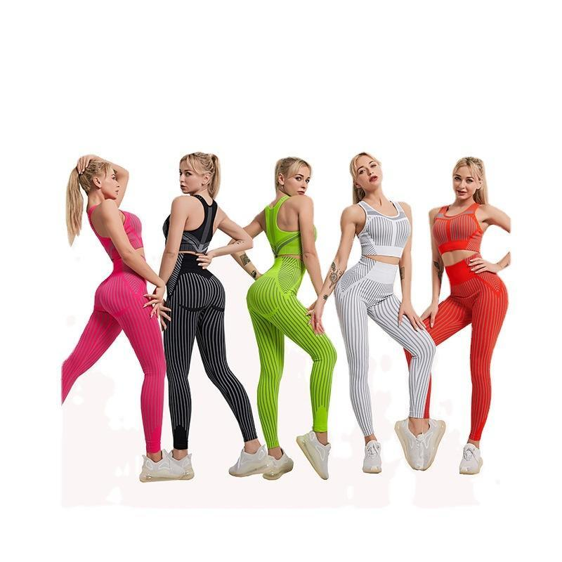 Gym Clothing Strip Seamless Women Yoga Set For Fitness Sports Suits Wear Running Top Bra Leggings Workout Pants Tracksuits -40