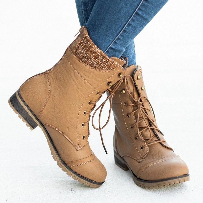 MoneRffi Flat Womens Boots And Calf Lacing Womens Warm Fashion Round Head Comfortable 2019 Winter New Fashion Trend Brown Boots Winter W1Y0#