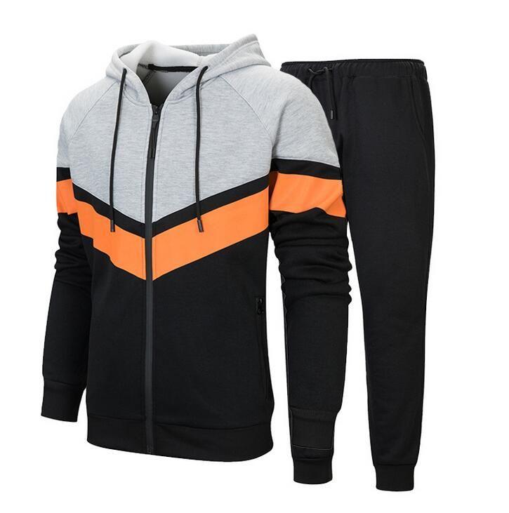 남성 캐주얼 후드 트랙 슈트 전체 지퍼 남자 2 조각 실행 조깅 운동 스포츠 재킷 및 바지 세트 망 체육관 Sweatsuits EUR 크기 TZ27