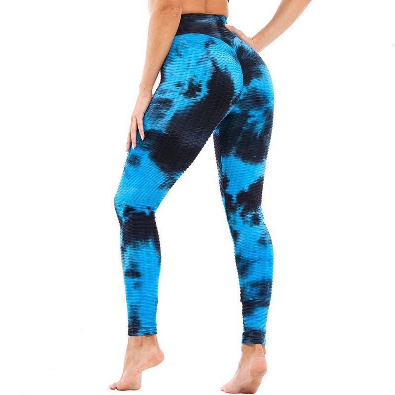2021 Дышащий бедро, поднятие фитнеса фитнеса показывают тонкую галстуку красительную йогу брюки женские