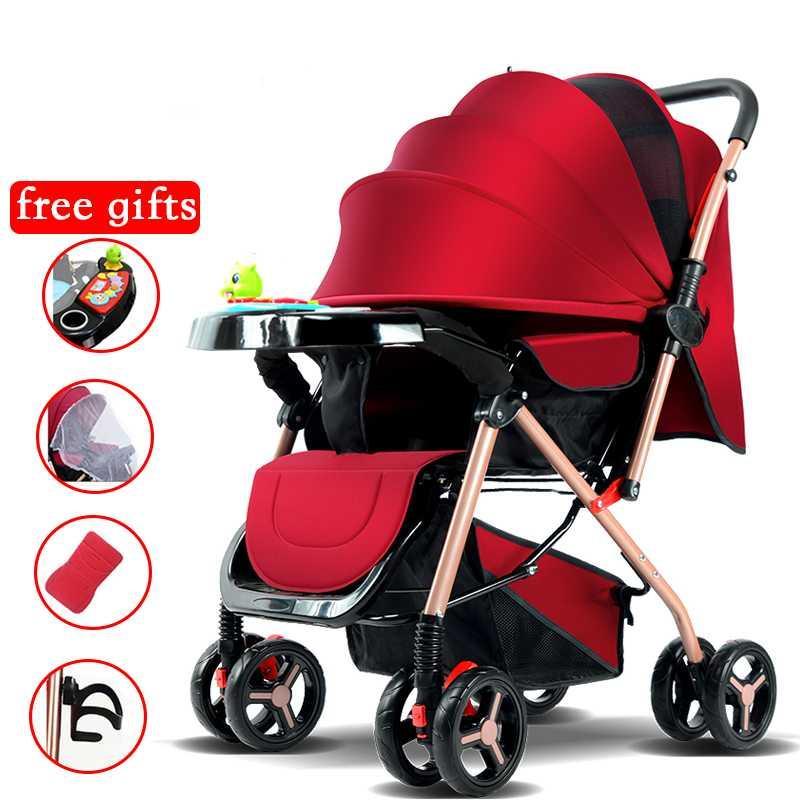 Детская коляска Двусторонняя коляска Высокий ландшафт легкий складной сидеть или ложится вниз, для новорожденного багажника автомобиля