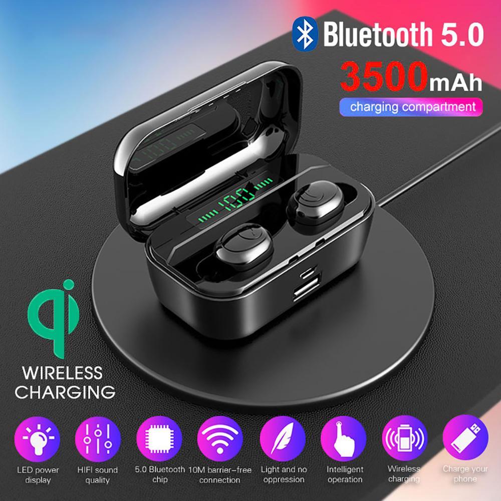 Bluetooth 5.0 Kopfhörer Tws Wireless Hantschree Kopfhörer Sport Bass Ohrhörer Wasserdichte Headset mit Mic 3500mAh Ladekasten