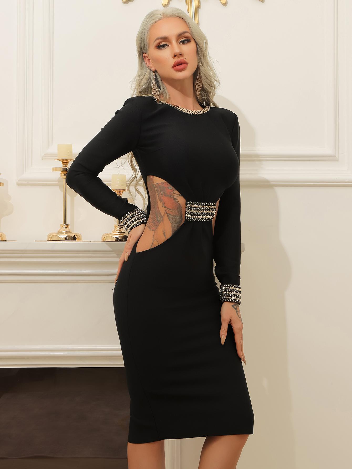 Seksi Kadınlar Uzun Kollu Tasarımcı Siyah Elmas Yüksek Street Bandaj Parti Elbise YCRN