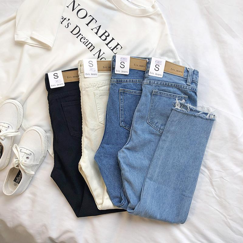 Mooirue Весна Женская База Джинсовая Женская Талия Карандаш Синие Лордовые джинсы