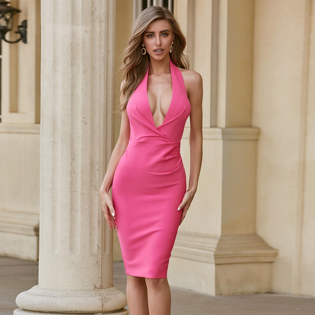 2021 Новый Bodycon Летняя повязка Sexy Backbloe Halter Драпированные Горячие розовые Женщины Мода Элегантная Вечерняя вечеринка Vesido Zzi1