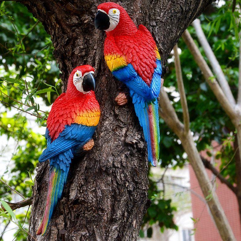 Resin Parrot Statue Wall Mounted DIY Outdoor Garden Tree Decoration Animal Sculpture For Home Office Garden Decor Ornament 338 S2