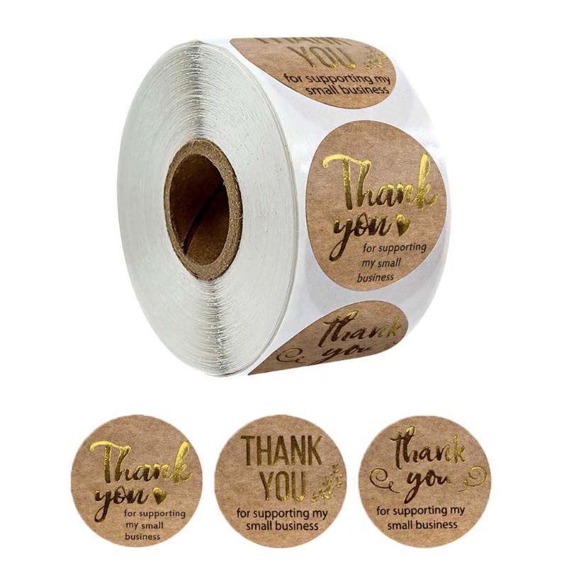 500pcs / rouleau Merci d'avoir soutenu mes autocollants Kraft de petite entreprise avec des étiquettes rondes en feuille d'or 090c