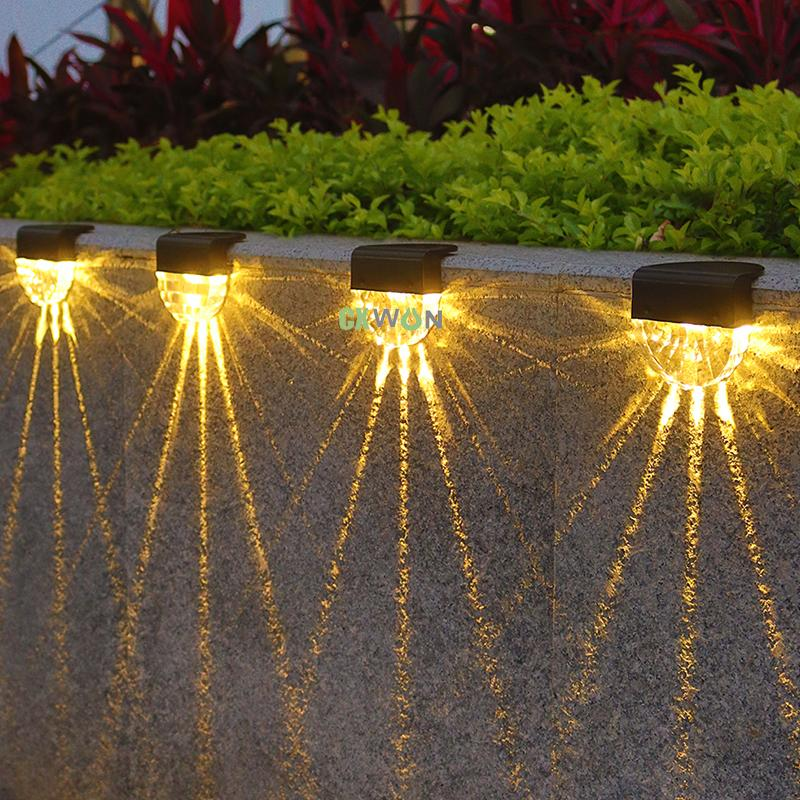 Solar LED Lamp Outdoor 7 colors changeable Waterproof Wall Light Fence stairs lights for Garden Landscape Step Deck Balcony