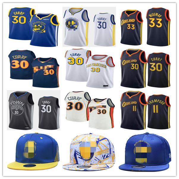 Золотой штатВоиныMens Stephen 30 Curry Jersey Klay 11 Thompson 33 Wiseman Баскетбол трикотажные изделия Город бейсболка кепка издание синий белый черный желтый