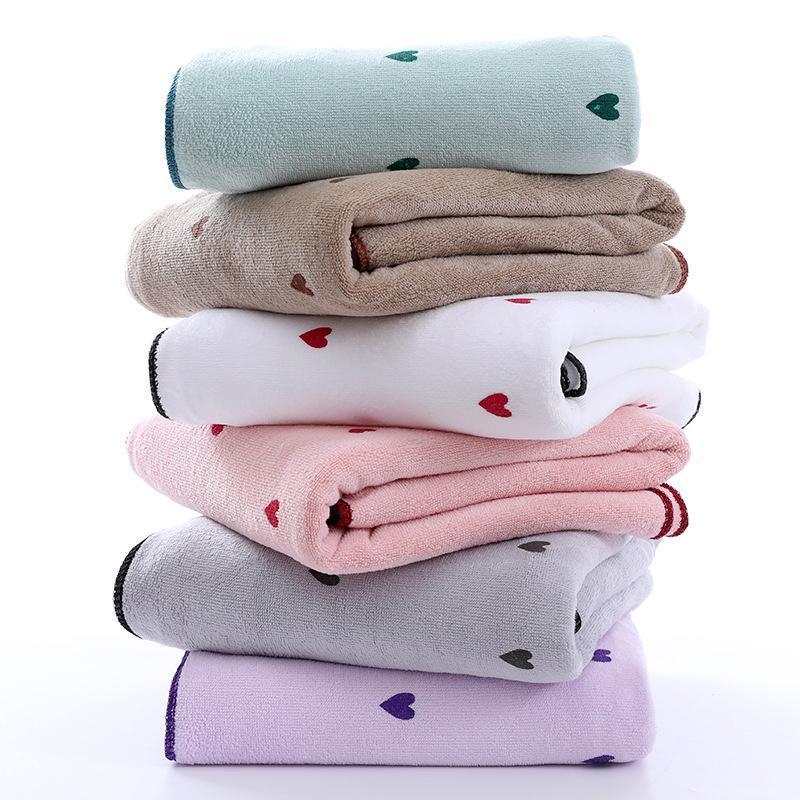 Towel Large Bath Love Print Soft Absorbent Shower Beach Towels 70x140cm Women Comfortable Big