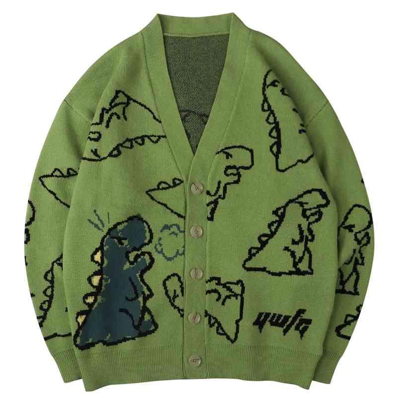 Hip Hop Erkek Örme Kazak Doodle Dinozor Desen Harajuku Boy Streetwear Gevşek Hırka Kazak Erkekler Kadınlar Coat 210812