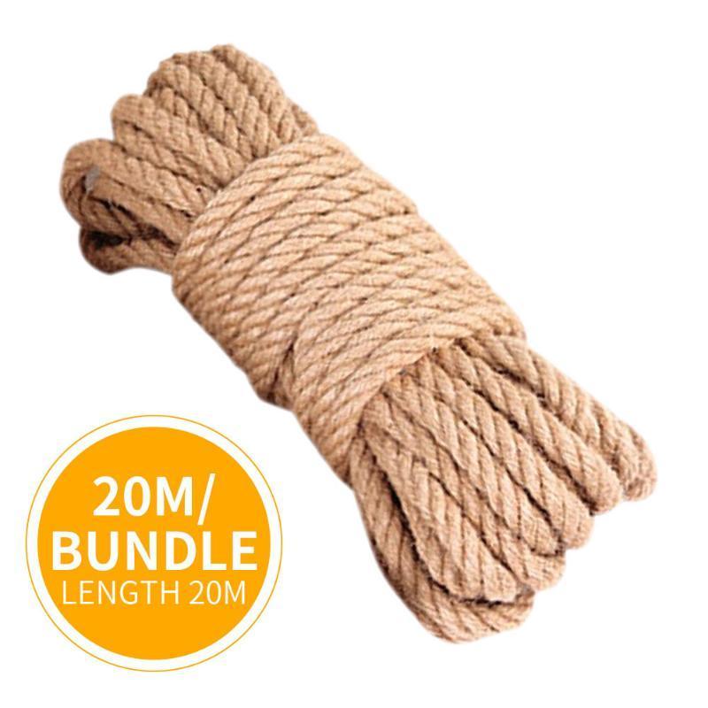 Natural yute tela cuerda cordel rollos torcedura cordón macrame cadena bricolaje cesta artesanía gato mascota rasguño decoración hecha a mano 10mm