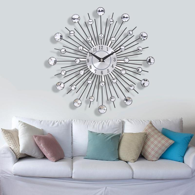 33 cm old metal crystal wall clock luxury diamond 3d large modern wall clock design node home decor