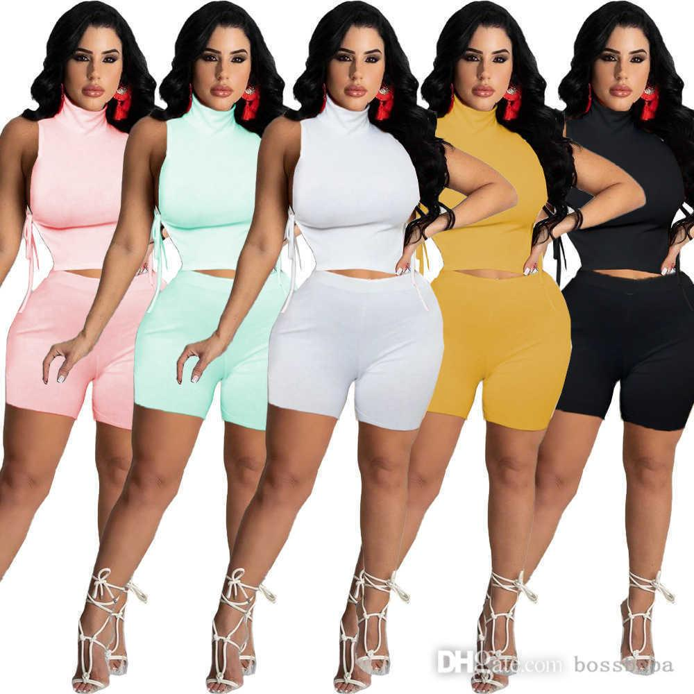 Women Tracksuits Outfits Summer Fashion Women's High Collar Side Strap Casual Solid Color Slim Two piece Sets S-XXL