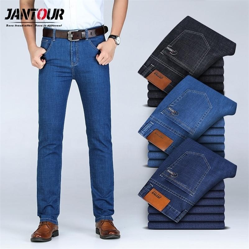 Мужская осень зимние хлопковые джинсы мужские растягивающие бизнес брюки моды брюки джинсовые джинсы мужские джинсы большой размер 35 40 42 44 46 LJ201023