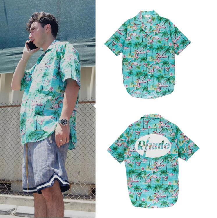 2021 Новая 19SS Последняя лучшая версия Летний стиль RHODE футболка Мужчины Женщины Фламинго Скейтборд с коротким рукавом Зеленая птица Мода хлопчатобумажные Tees 1P1