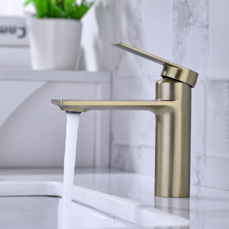 Bathroom vanity vessel faucet wash Basin mixer taps Washroom Anti-Rust and Anti-Wear Single Hole Sink water tap Matt Black Modern Monoblock Solid Chrome Brass