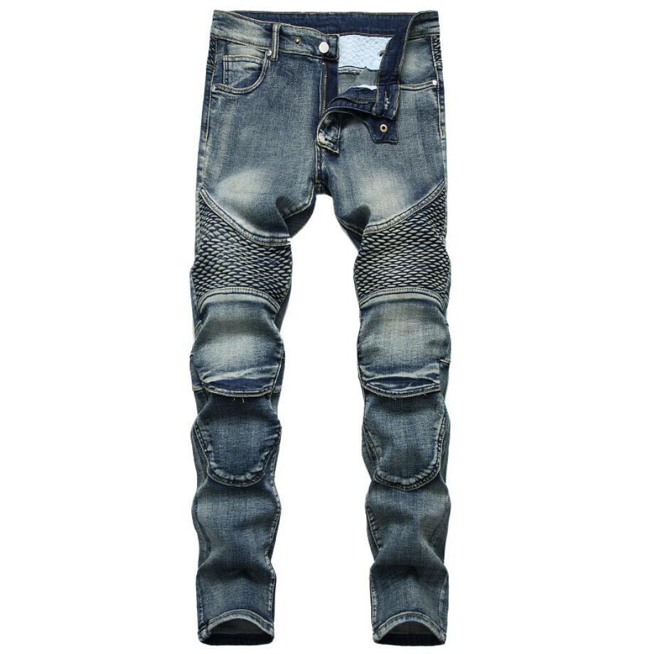 Zipper Jeans Pattern Print Mens Slim Ripped Light Washed Biker Knee Pads Denim Clothing Pants Straight Skinny Slim Fit