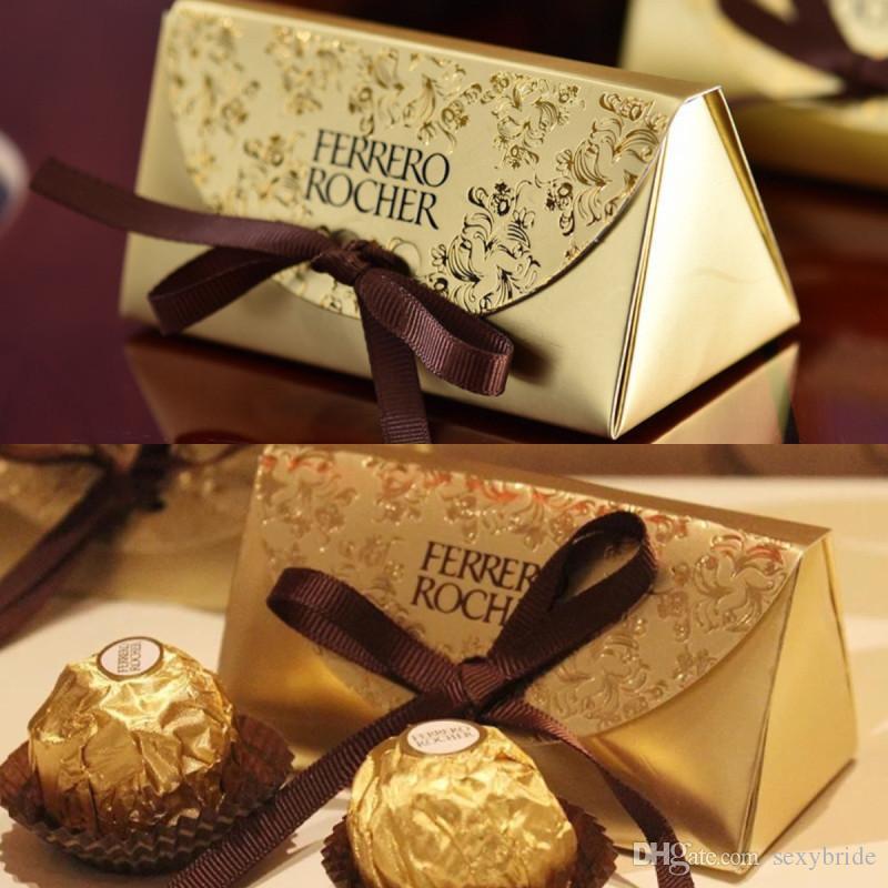 Vintage Sevimli 100 adet Düğün Favor Ve Hediyeler Bebek Duş Altın Kağıt Şeker Kutusu Ferrero Racher Kutuları Düğün Şekeri Tatlı Hediyeler Çanta Malzemeleri