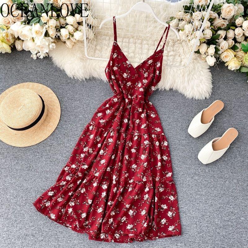 Oceanlove Yaz Elbise Baskı Çiçek Vintage Plaj Tarzı Kadın Elbiseler V Boyun Yüksek Bel Kore Moda Vestidos Chic 210303