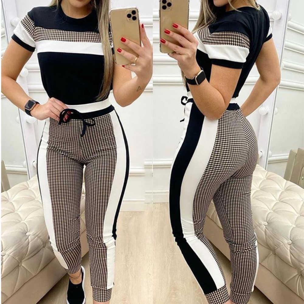 Women Clothing Two Piece Set Tracksuit Short-Sleeved Top+Full Length Pants Suits Ropa Mujer Ensemble Jogging Femme Wholesale Y0625