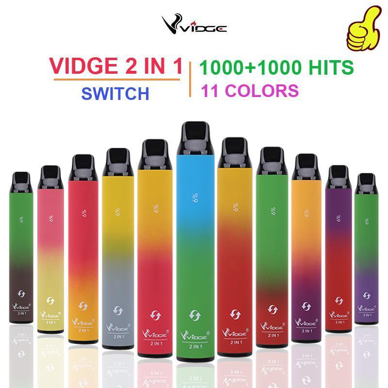 Sigarette e-sigarette monouso 100% Vidge Original Vidge 2in1 Device Pen Vape 3ml + 3ml 2000 POF POD portatile 950mah