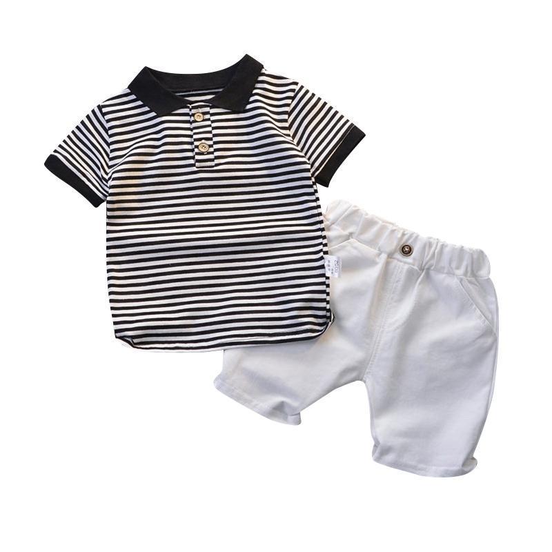 VERANO BEBY BOCA ROPA SELDES NIÑOS MANERA CORTE Oso Camisa a rayas Pantalones cortos 2pcs Niños Ropa de abrigo Traje de ropa para niños pequeños
