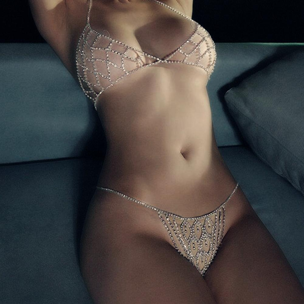 Lady Luxury Hollow Rhinestone Mesh Body Chain Bra Accessories Bikini Underwear Set Sexy Charm Crystal Body Jewelry Thong Panties T200508