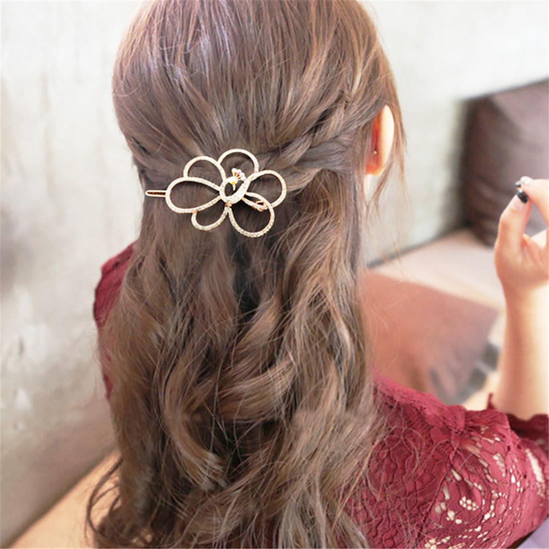 Neue koreanische populäre kopf mode hochwertige diamant eingelegter pfau haarnadel