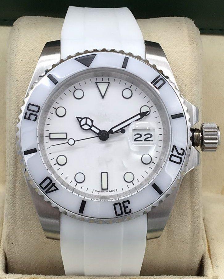 rolex Hot Classic Mode am schönsten 40mm Automatische mechanische Uhren Hochwertiger Gummi-Riemen Datum Wasserdichte Sport-Paar-Dating-Uhr