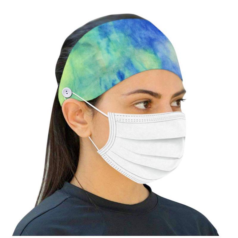 2021 Fashion Women Print Soft Headband Button Sports Yoga Elastic Headband for Mask Ear Protective Headwear Accessories