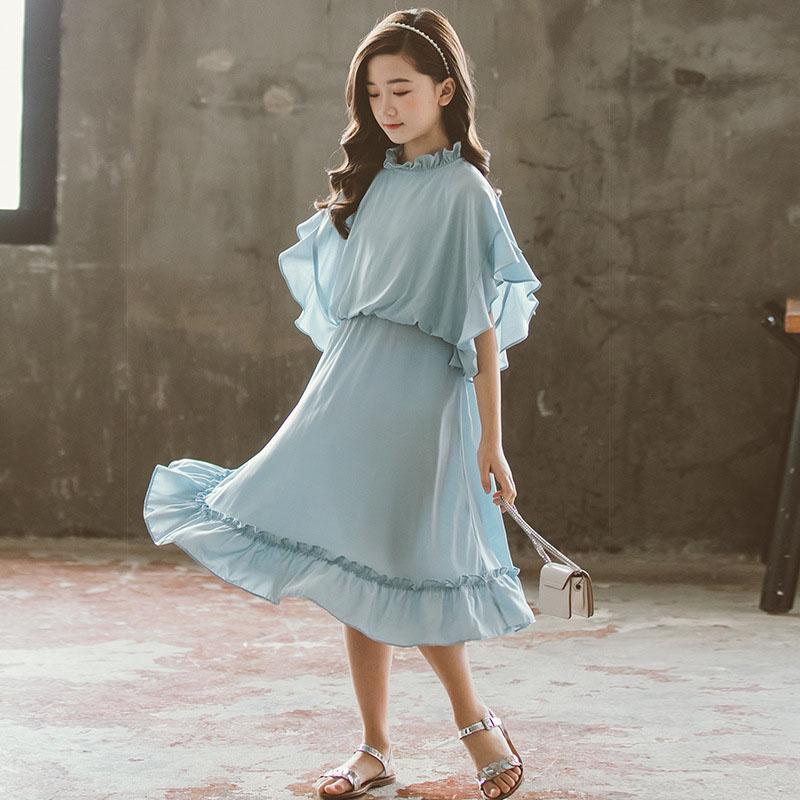 2022 الشيفون المراهقين الأميرة حزب فساتين للفتيات أزياء الملابس الكشكشة الاطفال فتاة الصيف الأطفال عارضة اللباس 3-13 سنة