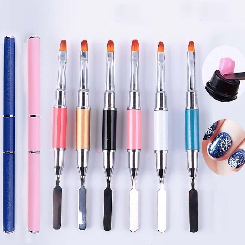 10 adet Toptan 2 1 UV Tırnak Jel Fırçası Çift uçlu Dilim Şekli Fırça Aracı Akrilik UV Nail İpuçları Uzatma Için